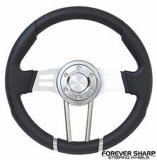 """14"""" 350mm Aluminum Black Vinyl Steering Wheel Marine Boat 3/4"""" Adapter Boss Kit"""