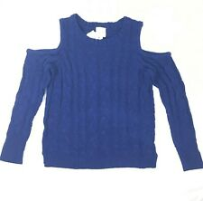 Hippie Rose Womens Juniors Blue Cold Shoulder Cable Knit Sweater Size S NEW