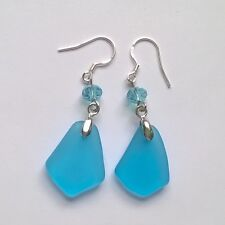 Ocean Blue Beach Sea Glass Handmade Dangle Jewelry Earring Silver Hook JCT