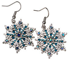 Snowflake dangle earrings Xmas holiday jewelry gifts for women mom QED22 blue