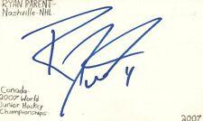 Ryan Parent Nashville Nhl Hockey Autographed Signed Index Card
