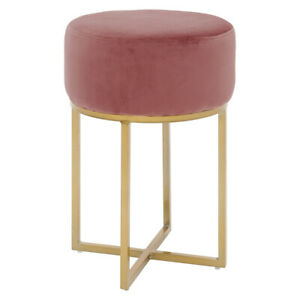Velvet Bedroom Vanity Stool Dressing Table Chair Pouffe Seat Metal Nordic Style