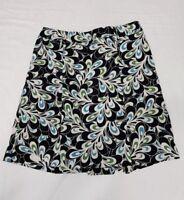 Ann Taylor A-Line Lined Skirt Women's Black Blue Green Floral Size 4P Petite