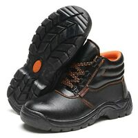 New Men Working Boots Safety Steel Toe Anti Puncture Factory Work Shoes Lace Up