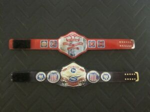 2 NWA TV and US Custom Wrestling Figure Belts (Action figure not included)