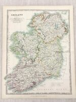 1896 Antique Map of Ireland Irish Counties Eire Original 19th Century Johnston