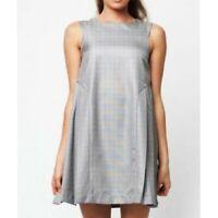 Dear Creatures Womens Modcloth Mod 60s Twiggy Style Gray Plaid Dress Sz XS
