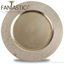 Fantastic:)™ Round 13Inch Charger Plate With Metallic Finish ( Stone Pattern )