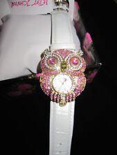 BETSEY JOHNSON PINK BLING OWL WATCH