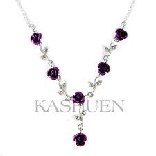 Purple w Swarovski Crystal Rose Flower Floral Bridal Wedding Bridesmaid Necklace