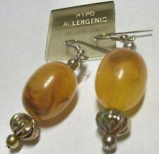 Vintage Lucite Butterscotch Egg Yolk Dangle Hypo-allergenic Hook Dangle Earrings