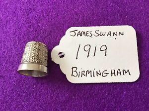 Antique Solid Silver Thimble Hallmark For Birmingham 1919