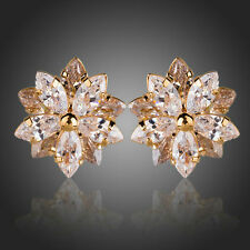 New Fashion Sparkly Shiny Zircon Gold Plated Lotus Flower Stud Earrings Jewelry