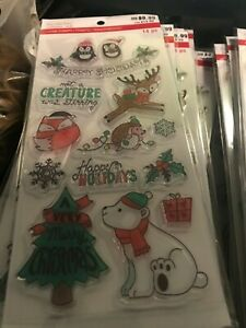 Christmas Animals Clear Acrylic Stamp Set by Recollections 642219 NEW!
