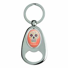 Happy Halloween Fun Floral Skull Spinning Oval Bottle Opener Keychain