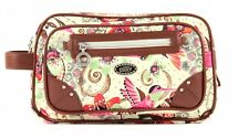 Oilily Tropical Birds Pocket Cosmetic Bag Kosmetiktasche Tasche Off White Beige