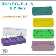 Magnetic Rectangular Dental Lab Bur Block Holder Station Holds 14 Burs Fg Hp Ra