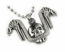 SNAKE HANDLEBARS SKULL German Iron Cross Harley Biker Pendant Necklace w/ Chain