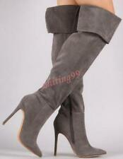 New Sexy Womens Lady Stiletto Heel Suede Pointy Toe Over Knee High Boots Knight