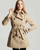 Burberry Women's Buckingham Double Breasted Mid Trench Coat,Honey. Size 14US.NEW