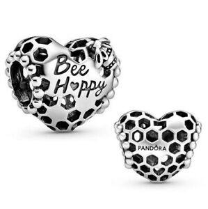 Genuine PANDORA Charm Sterling Silver BEE HAPPY HONEYCOMB HEART 798769C00