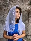 White Spanish style veils and mantilla church chapel scarf lace ROSE