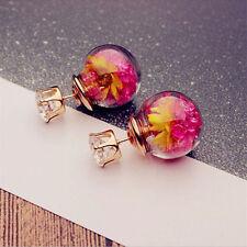 1Pair Pretty Women Lady Elegant Flower Rhinestone Glass Ear Stud Earrings