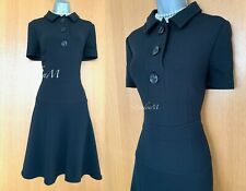 Karen Millen UK 14 Black Collared Buttons Short Sleeve Flattering Casual Dress