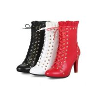 Ladies Shoes Rivets Synthetic Leather High Heels Zip Up Ankle Boots US Size b159