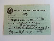 Österreichischer luftschutzbund: carte de membre Graz 1935 pour richard Khan. rar!