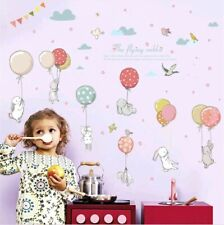 The Flying Rabbit Wall Decals Balloon Stickers Mural Nursery Child's Bedroom