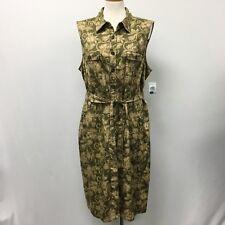 Charter Club Dress Size 20W Women Olive Khaki Floral Sleeveless Palm Desert NWOT
