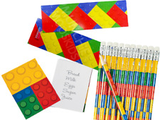 Pack of 36 Brick Block Stationery Pack, Pencils Bookmarks Notepads Party Fillers