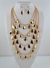 High End Gold Plated Multi solid metal chain Charm Necklace Set #64