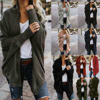 Womens Off The Shoulder Sweater Casual Knitted Loose Long Sleeve Pullover Coat L