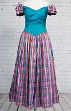 Vintage 1980s Blue Pink Tartan Dress Ball Gown Victorian Size 12 14 Fancy Frocks