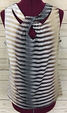 New York & Company Sexy Sleeveless Top Blouse Cut-Out Neck Design Striped Size L