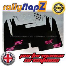 Qty4 Mud Flaps & Fixings SUBARU IMPREZA 01-07 4mm PVC Black STi (sml) style Pink