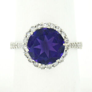 14K White Gold 4.1ctw Royal Purple Amethyst Solitaire w/ Round Diamond Halo Ring