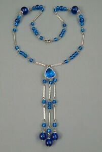 Vintage Art Deco White Gold Filled Blue Cyan Glass Bead Sautoir Tassel Necklace