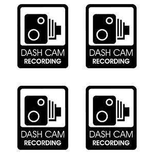4 x Dash Cam Recording Stickers CCTV In Car Video Warning Vinyl Decals 50mmx45mm