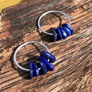 Sterling Silver Lapis Lazuli Gem Chip Hoop Earrings