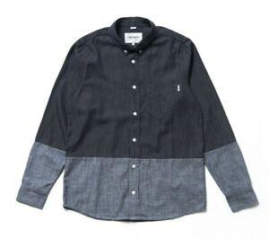 CARHARTT Men's Morton Long Sleeve Sleeve Shirt i017768 Dark Grey Rinsed Size M