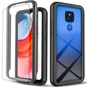 For Motorola Moto G Play 2021 Case, Shockproof Cover+ Tempered Glass Protector