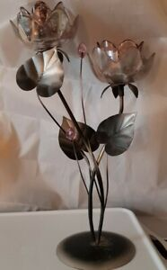 Metal And Glass Floral Candle Holder