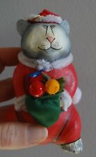 PAPER MACHE CAT SANTA CHRISTMAS ORNAMENT HABITAT INTL DECORATION CAT RESQ