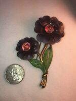 Vtg 3D Daisy Flower Purple Enamel Pink Glass Rhinestone Pin Brooch BEAUTIFUL!