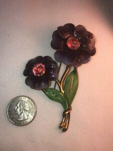 Vtg 3D Daisy Flower Purple Enamel Pink Glass Rhinestone Pin Brooch BEAUTIFUL!