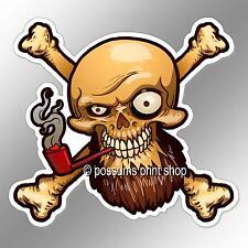 Funny Car Bumper Sticker Pirate Skull Beard Smoking Red Pipe 102 X 93 Mm Decal