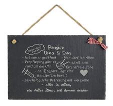 Schild mit Spruch witzig Pension Oma Opa Schiefertafel Geburtstag Wanddekoration